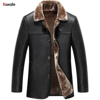 Kuezule Brand Leather Motorcycle Jacket Fur Men Winter New Fashion Men S Stand Up Collar Thicken