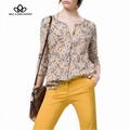 2015 primavera verão new retro floral vintage imprimir gola manga comprida blusa camisa azul e chaki