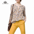 2015 spring summer new retro vintage floral print crew neck long sleeve blouse shirt blue and chaki