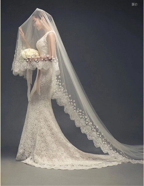 Flowers Lace Liques Ivory Wedding Veil With Flower Cathedral Bridal Veils Floor Length