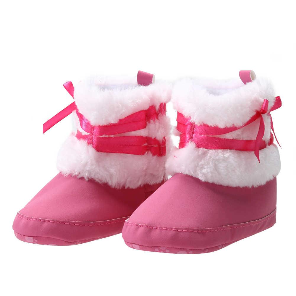 Cho bé Gái Mùa Đông Ủng Trẻ Sơ Sinh Chắc Chắn Nơ Giày Prewalker Đỏ/Đỏ Hoa Hồng Cho Bé Gái Giày 0-12 tháng