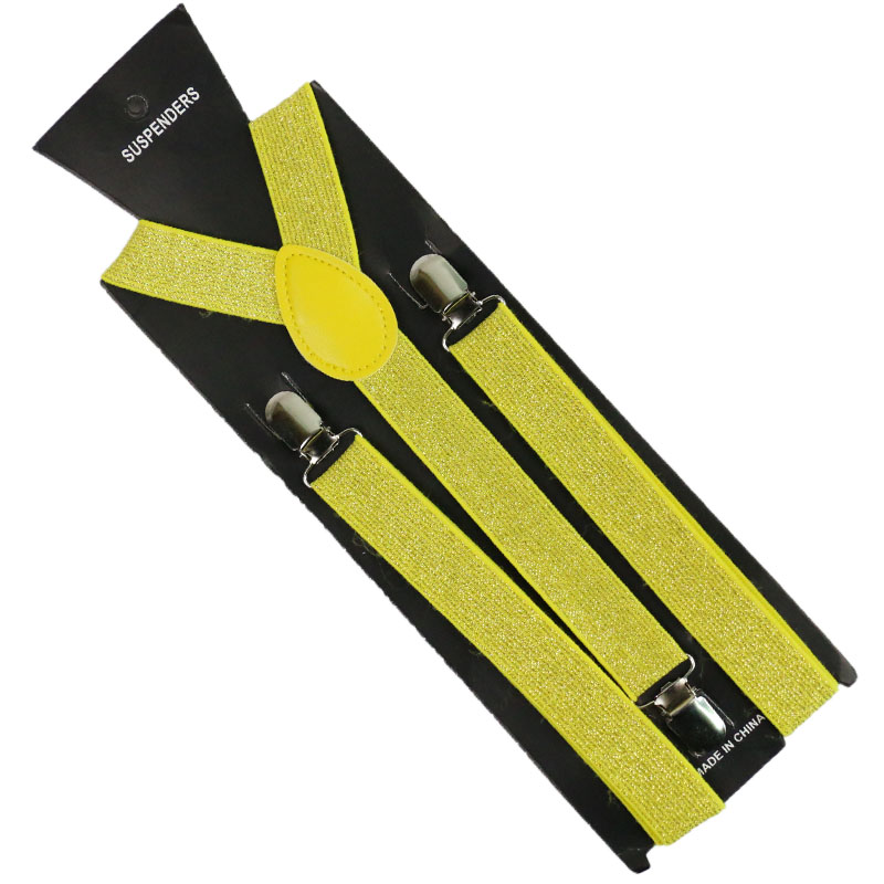 Fashion 2.5cm Wide Blue Yellow Solid Color Flicker Clip-on Braces Elastic Y-back  Suspenders For Men Womens 3 Clip Suspenders