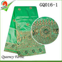 2017 GQ016 Queency Curious Raw Silk Embroidery George African Fabric Wholesale From India For 5 Yards