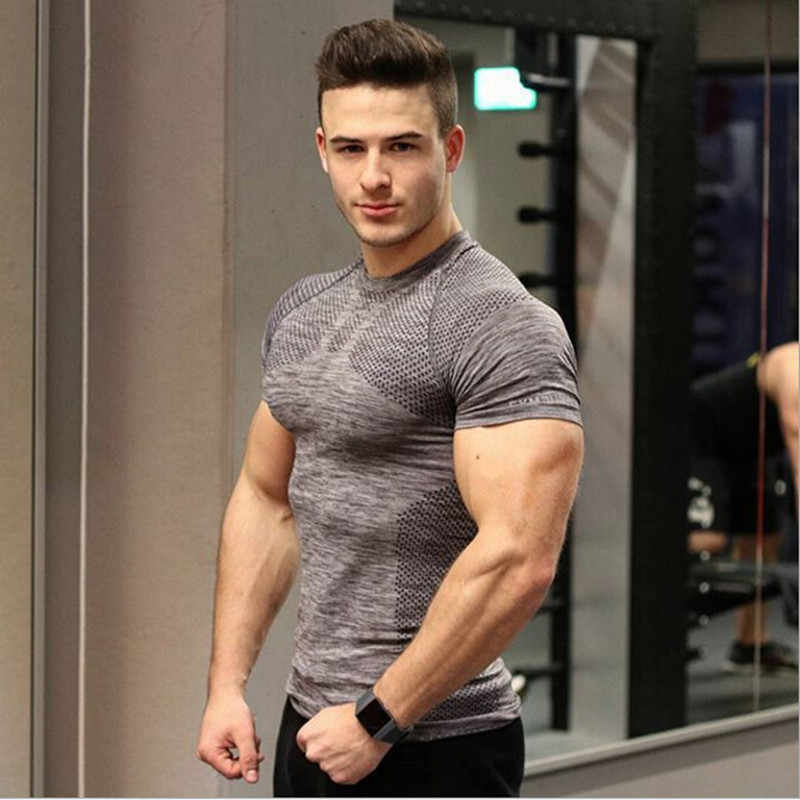 3723f7a1bfff Mens Gym Bodybuilding quick dry flexible breathable tight fitnes sexy t-shirt  Fitness Skinny workout