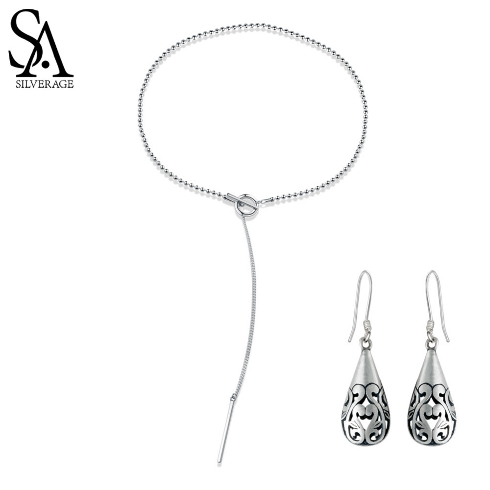 SA SILVERAGE 925 Sterling Silver Vintage Pendant Chain Necklaces Water Drop Drop Earrings Jewelry Sets for Woman Long Earrings long chain enamel bird shape drop earrings
