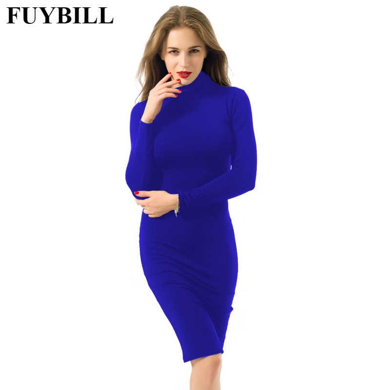ba8c07951bb FUYBILL новые модные женские туфли платье 2018 новые осенние и зимние модные  с длинными рукавами пикантные