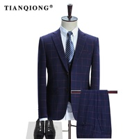 TIAN QIONG Brand Plaid Suit Men 2017 Slim Fit Mens Formal Wear Male Business Suits High