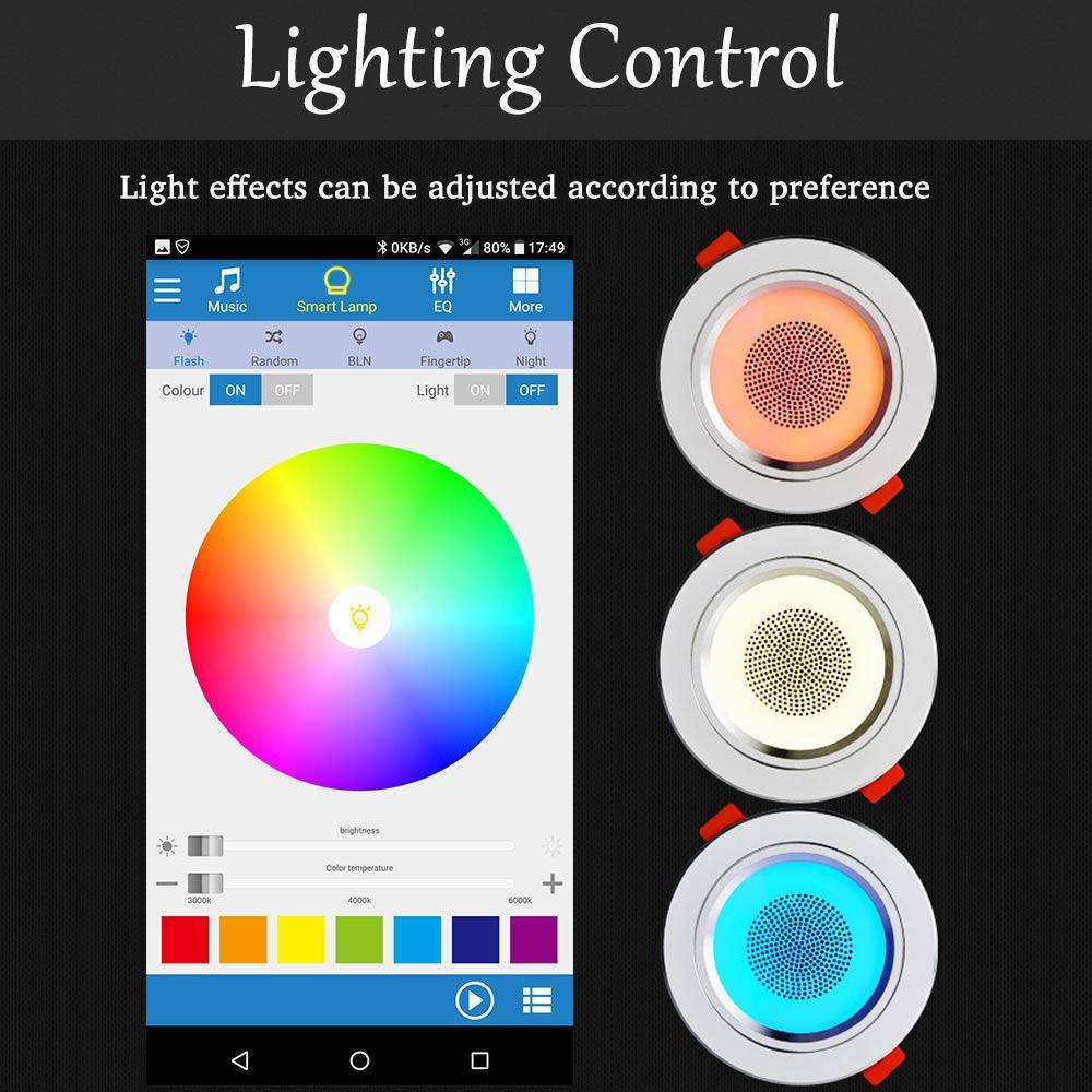 2PCS LED Color Changing Bluetooth 4.0 Music Seiling Lights Smart Creative Ceiling Decorative Downlights-in Downlights from Lights & Lighting    1