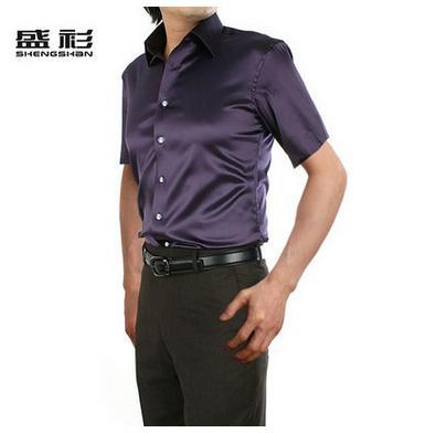 Новое поступление, летняя стильная шелковая Повседневная однотонная мужская рубашка с коротким рукавом, трендовая модная повседневная рубашка из искусственного шелка - Цвет: dark purple