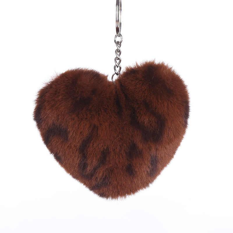 Fofo Fur Pompom Pompom Keychain Macio Encantador da Forma Do Coração da Cópia do Leopardo Amoroso Anel Chave Do Presente Do Partido Anel MQ13 Hairball