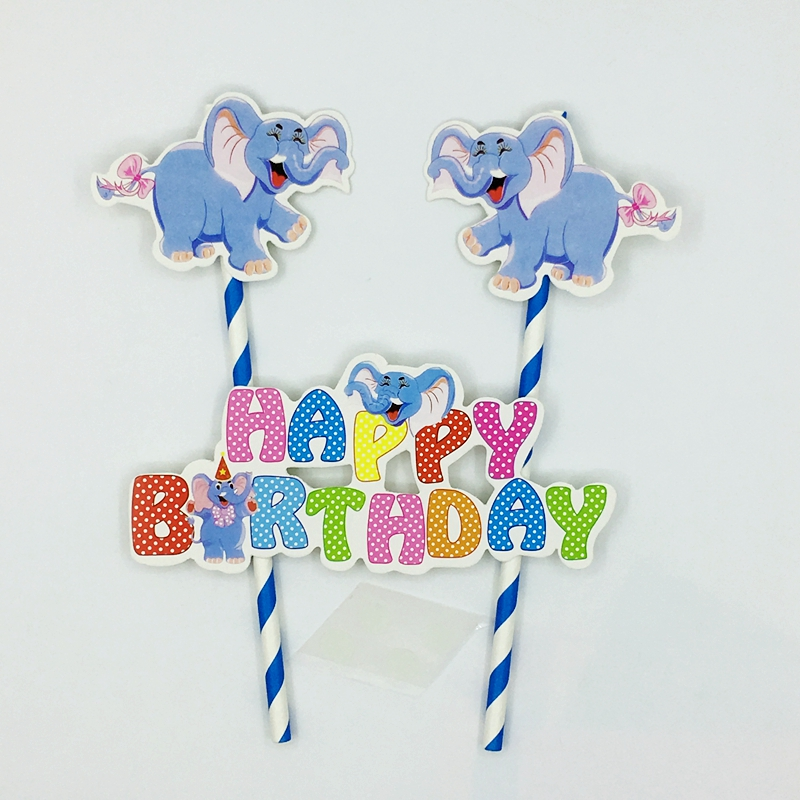 Miraculous 1 Set Blue Dumbo Happy Birthday Cake Topper Cute Elephant Party Birthday Cards Printable Trancafe Filternl