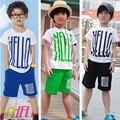 Verão das Crianças definir olá carta impressão set roupas criança do sexo masculino 100% Do Bebê Do algodão set menino terno esporte definir T-camisas + shorts