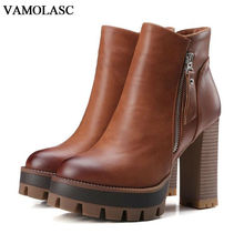 VAMOLASC New Women Autumn Winter Leather Ankle Boots Zipper Square High Heel Martin Boots Platform Women Shoes Plus Size 34-42