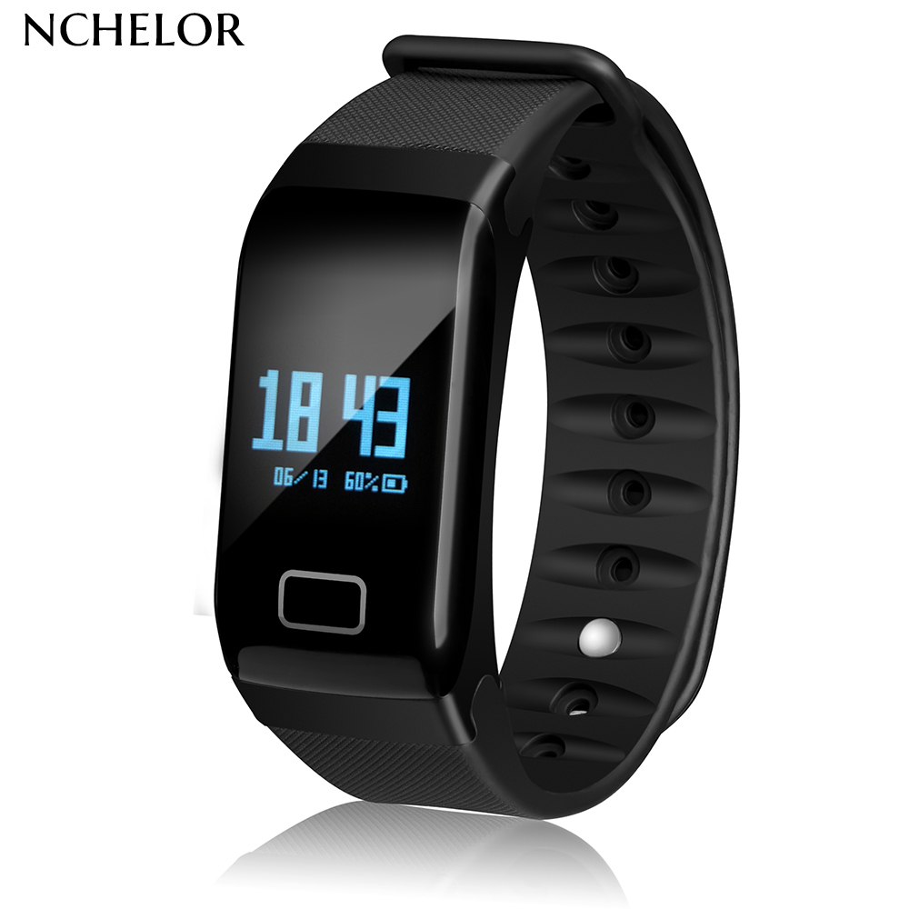 F1 Black Smart bracelet Blood Pressure Monitor Heart Rate Smart Watch Waterproof For Sports and Fashion Health Tracker home care laser light therapy instrument wrist watch type reduce high blood pressure