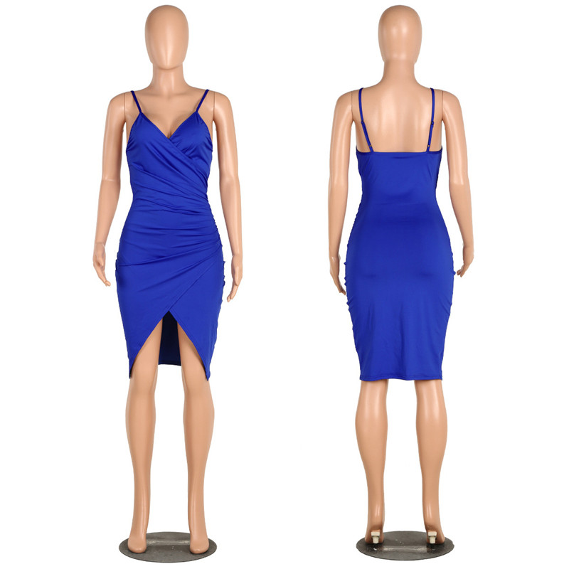 sexy deep v neck spaghetti strap dress-5