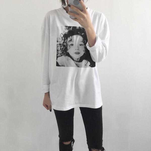 Blanc Le shirt Édition Whi Nouveau 2018 Manches Avec Ulzzang Manteau Han Coton Étudiantes Printemps Courtes T Lâche Joker Moitié rqrX0UOw