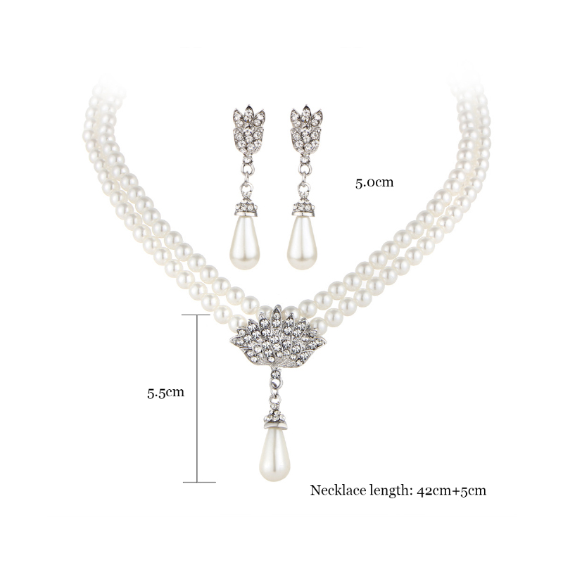 Fashion Simulated Pearl Bridal Jewelry sets For Women 33
