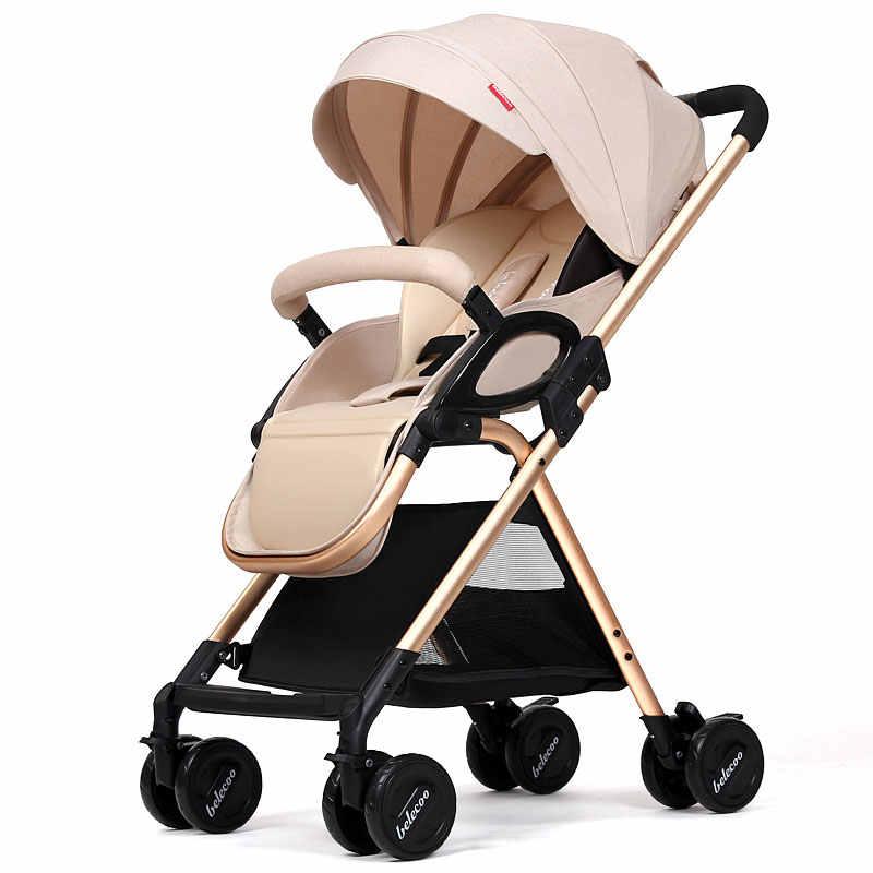 รถเข็นเด็กทารกสามารถนั่งสามารถโกหกกลับกันสาดรถภูมิทัศน์พับ BB รถเข็น