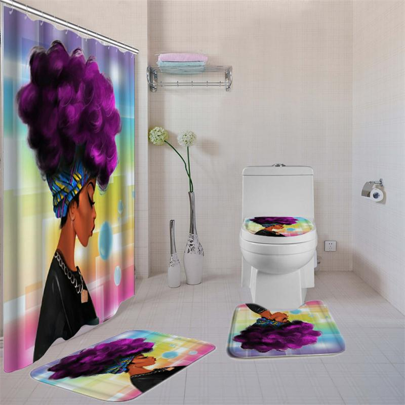 Women Printed Bathroom Curtain Set Made Of Non PEVA Material With Toilet Seat Cover 10