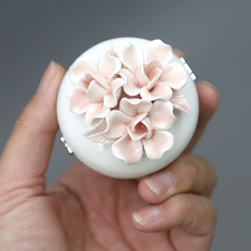 Jewelry-Box-Storage Decorative-Box Display Small Ceramic Three-Dimensional-Flower