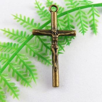 10pcs lot Antique Bronze Jesus Cross Pendant Unisex Charms NecklaceBracelet 39 20mm Religious Jewelry Fine Gifts
