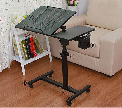 A Quality Metal Rolling Laptop Desk Stand Height&Angle Adjustable Rotate Laptop Table For Bed With Pen Holder Computer Desk