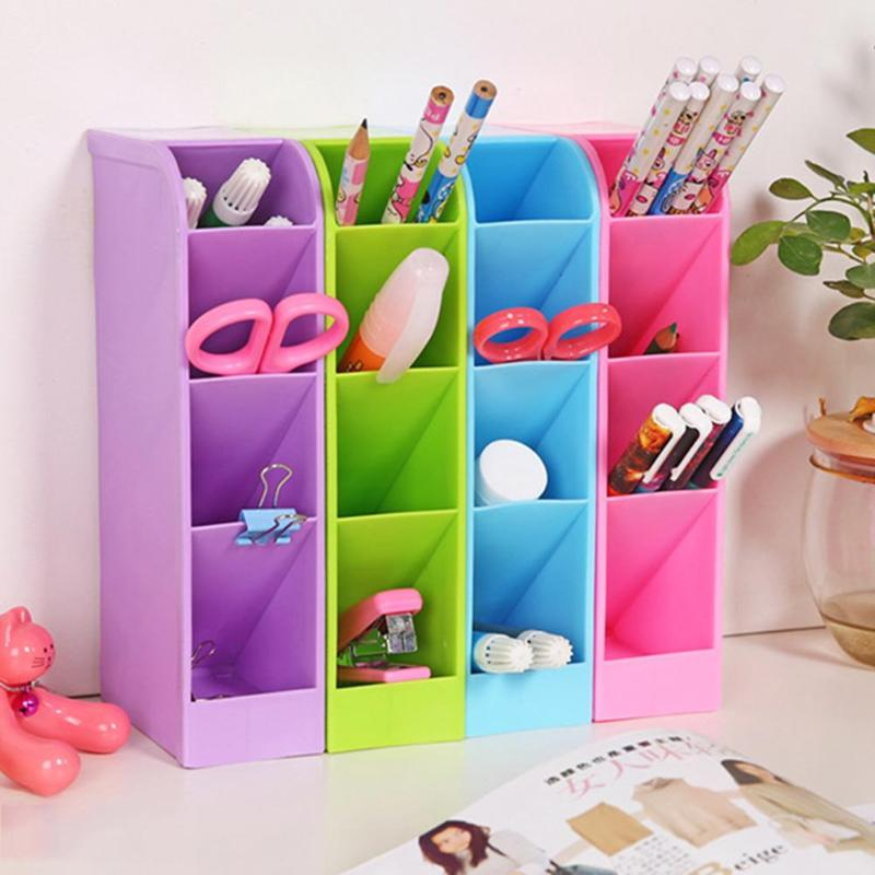 ALLOYSEED  Multifunction Plastic 4 Cells Desktop Storage Box Office Desk Stationery Holder Cosmetics Sundries Case Color Random