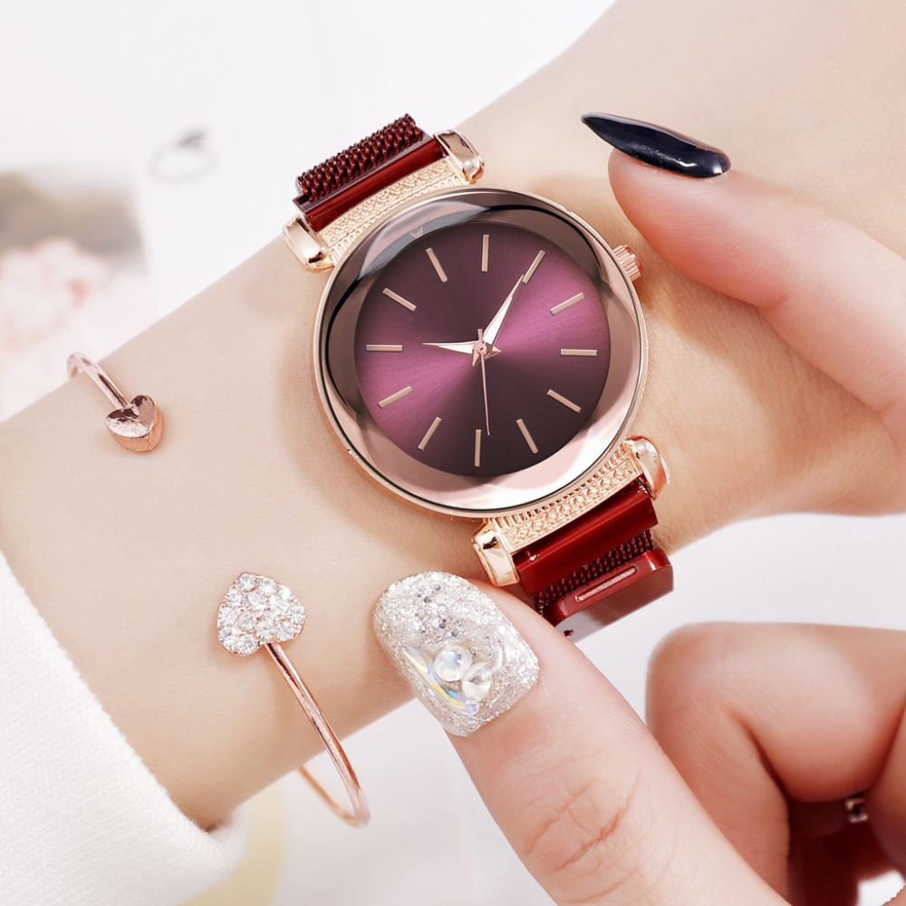Fashion Watches Women Casual Stainless Steel Mesh Magnetic Buckle Strap Watch Simple Female Quartz Clock Relojes Para Mujer
