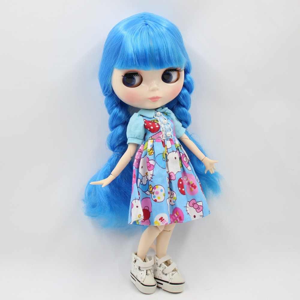Фабрика blyth кукла 1/6 bjd соединение тела белая кожа 30 см Длинные Голубые волосы с косами BL6208