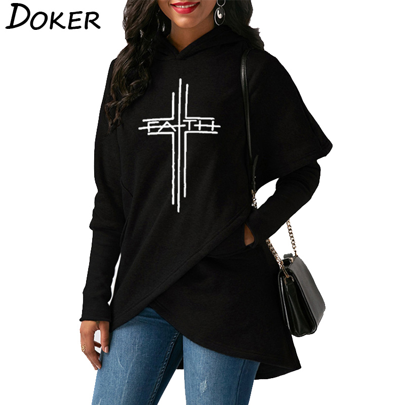 2019 Autumn Winter Long Sleeve Pullover Hoodies Sweatshirts Women Cross Faith Print Hoodie Plus Size Christmas Warm Sweatshirt