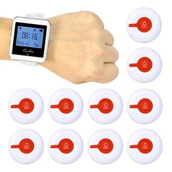 Wireless Calling System Restaurant Waiter Call Pager 10 Call Transmitter Button + 1 Watch Pager 433MHz 999 Channel F3288B