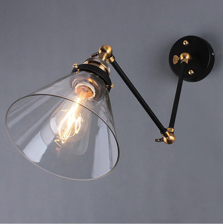 Nordic Brief Personally Vintage Ameican Industrial Fold Glass Edison Wall Sconce Lamp Bathroom Mirror Home Decor Modern Lighting