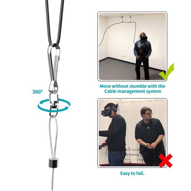 System zarządzania kablami VeeR VR, System koła pasowego sufitu akcesoria VR do HTC Vive/Vive Pro/Oculus Rift/PSVR/Samsung Odyssey