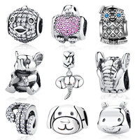 Authentic 100 925 Sterling Silver Charm Turtle Elephant Bird Animal Bead Crystal Fit Pandora Bracelets Bangles