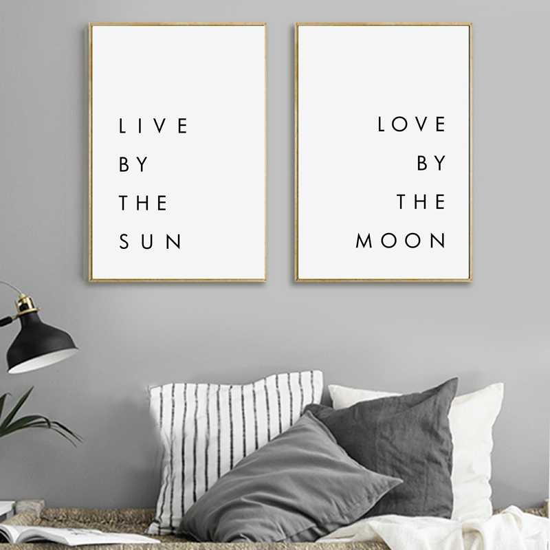 Bedroom Wall Art Minimalist Canvas Print Poster - Live by the Sun Love by the Moon Typography Canvas Painting Modern Wall Decor