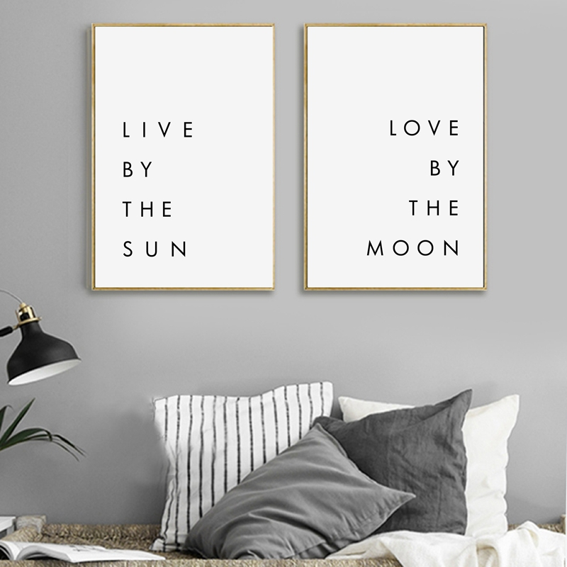 bedroom wall art minimalist canvas print poster live by the sun love by the moon typography. Black Bedroom Furniture Sets. Home Design Ideas