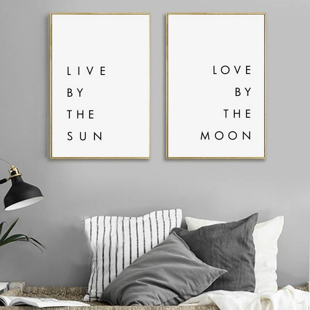 US $2.5 22% OFF|Bedroom Wall Art Minimalist Canvas Print Poster Live by the  Sun Love by the Moon Typography Canvas Painting Modern Wall Decor-in ...