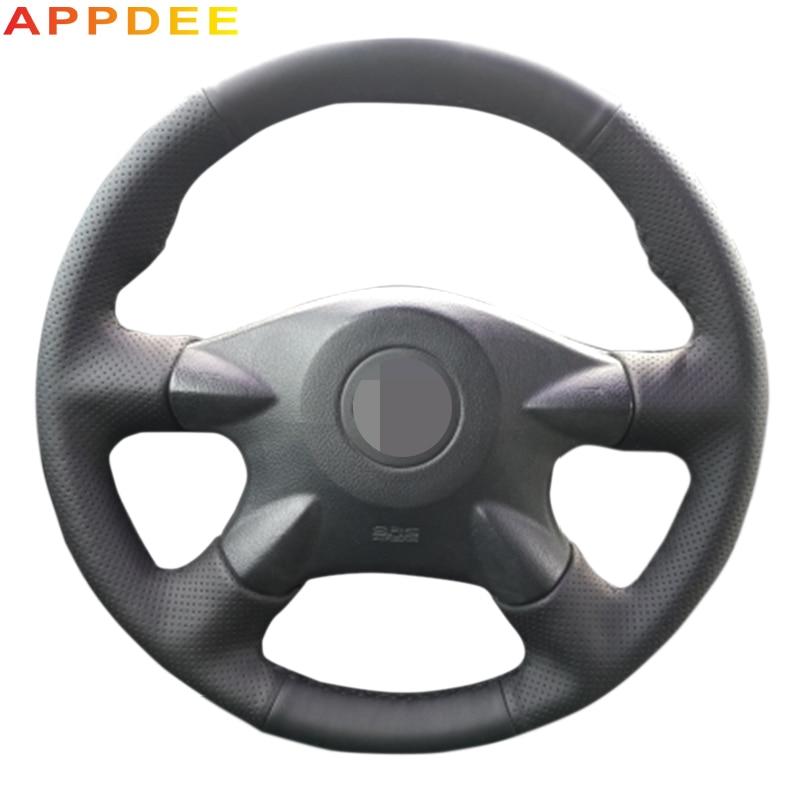 Black Artificial Leather Car Steering Wheel Cover for Nissan Almera N16 Pathfinder Primera XTrail 2001-2006 Renault Samsung SM3