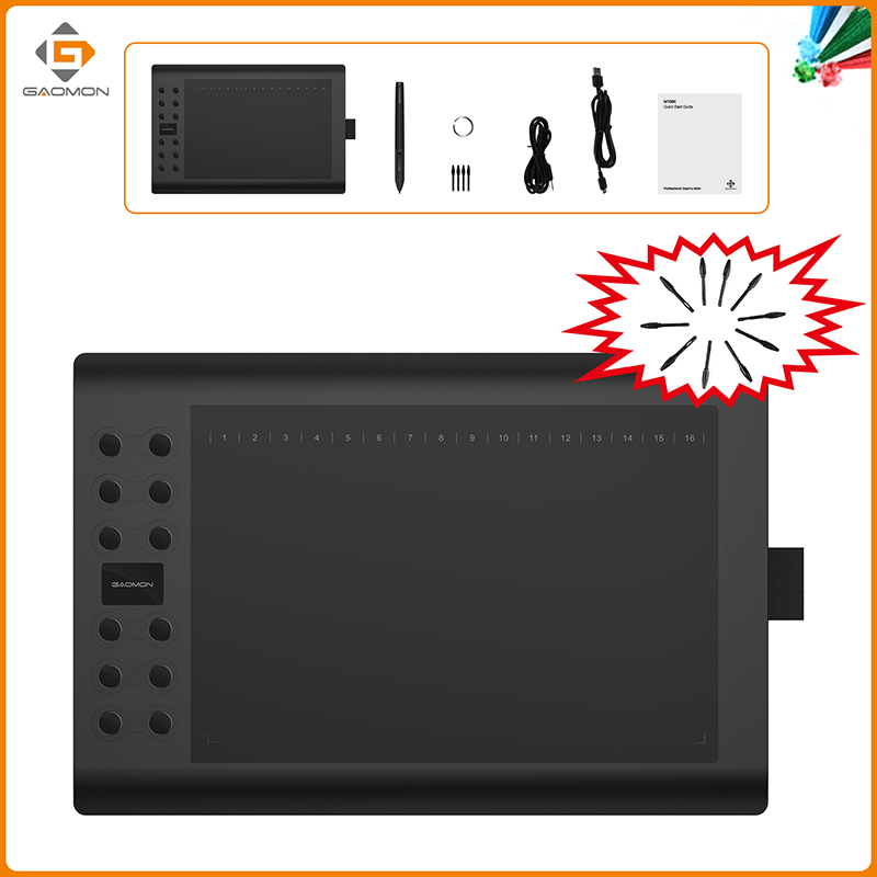 GAOMON M106K 10x6 inches Drawing Tablets Digital Tablet Graphics Tablet with 10 Replacement Nibs