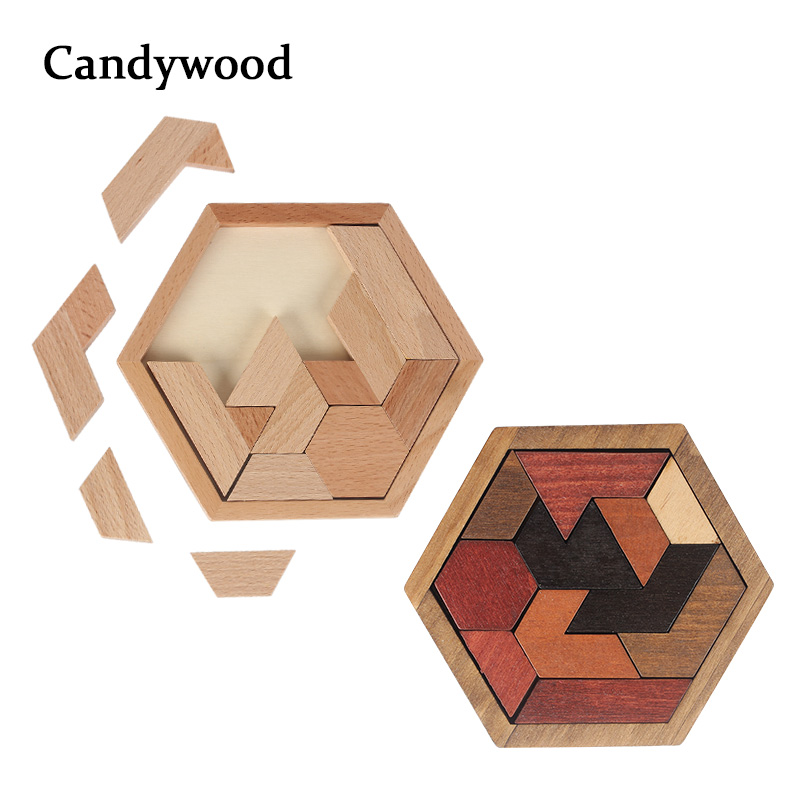 Children Wooden Toys Hexagon Puzzle Geometric Abnormity Shape Puzzle Tangram/Jigsaw Board Educational Toys For Boys Kids Adult