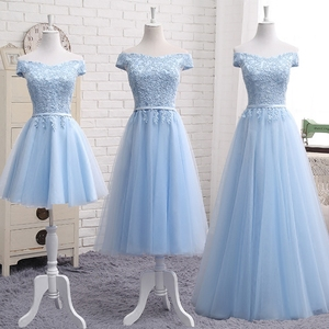 Image 2 - MNZ502X#lace up bridesmaid dresses new autumn 2019 short middle long style prom dress girls champagne blue plus size Custom