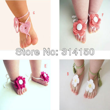 2Pair/Lot Baby Girl First Walkers Shoes Baby Foot Flowers Shoes Girl's Pretty Knitting Wool 7 Colors image