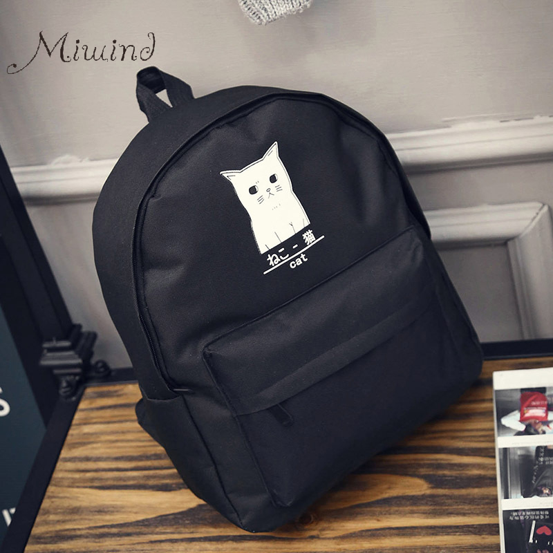 font b Backpack b font For Teenagers Girls Designer Harajuku Cat Anime Canvas Black Waterproof