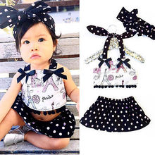 Newborn Baby Girl Clothes Tops+Polka Dot Skirts 2pcs Outfits Set Sunsuit 0-24M