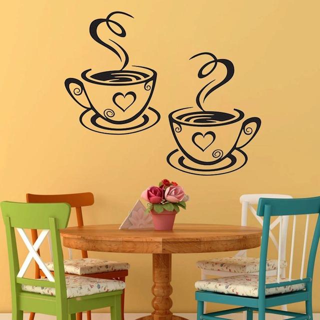 New Arrival Beautiful Design Coffee Cups Cafe Tea Wall Stickers Art Vinyl Decal Kitchen Restaurant Pub Decor