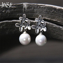 JINSE S925 Sterling-Silver-Jewelry Flower Shell Pearl Sterling Silver Jewelry Dangle Drop Earring For Women Korean 13mm