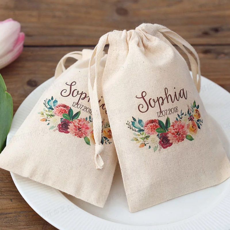 50pcs Personalized Wedding Gift Drawstring Bag Cotton Candy Bags Custom Name Date Bridal Birthday Anniversary Wedding Favors