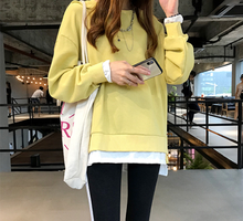 M fake two-piece hoodie female long-sleeved 2019 spring new Korean version of the large size loose lazy wind shirt