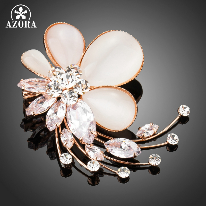 AZORA Cat's Eye Stone Flower Brooch Pins for Woman Clear Cubic Zirconia Rose Gold Color Brooches Fashion Jewelry TP0063 все цены