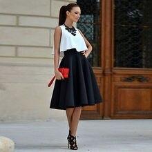 2 шт цельная женская блузка без рукавов Топ и юбка винтажный комплект